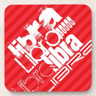 Libra; Scarlet Red Stripes Drink Coaster