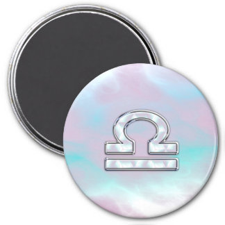 Libra Sign Mother of Pearl Style 7.5 Cm Round Magnet