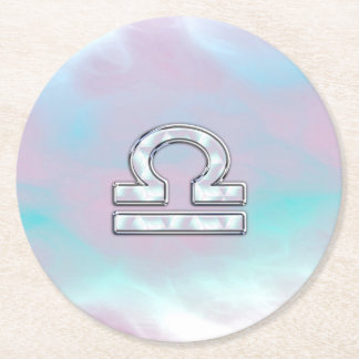 Libra Sign Mother of Pearl Style Round Paper Coaster