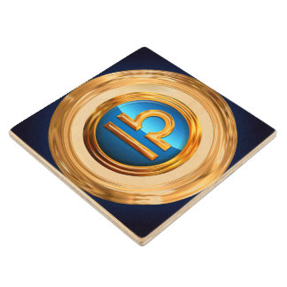 Libra Symbol Wood Coaster
