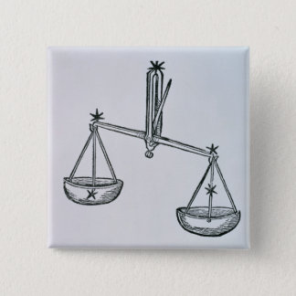 Libra (the Scales) an illustration from the 'Poeti 15 Cm Square Badge
