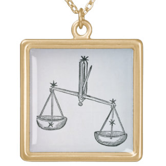 Libra (the Scales) an illustration from the 'Poeti Gold Plated Necklace