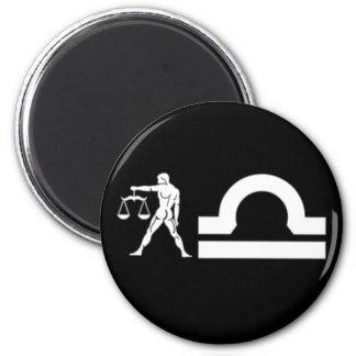 Libra with Symbol 6 Cm Round Magnet