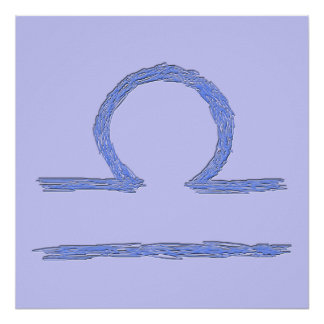 Libra. Zodiac Astrological Sign. Blue. Poster