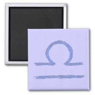 Libra. Zodiac Astrological Sign. Blue. Square Magnet