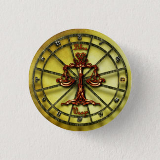 Libra Zodiac Astrology design Horoscope 3 Cm Round Badge