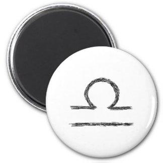 Libra. Zodiac Astrology Sign. Black. 6 Cm Round Magnet