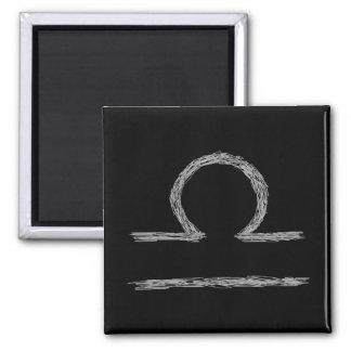 Libra. Zodiac Astrology Sign. Black. Fridge Magnets