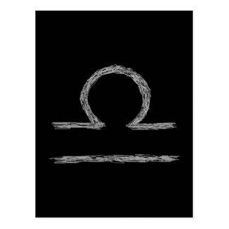 Libra. Zodiac Astrology Sign. Black. Postcard