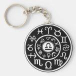 Libra Zodiac Basic Round Button Key Ring