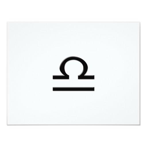 """Libra - Zodiac Sign 4.25"""" X 5.5"""" Invitation Card"""