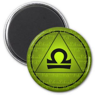 Libra Zodiac Sign Green Triangle Curly Script 6 Cm Round Magnet