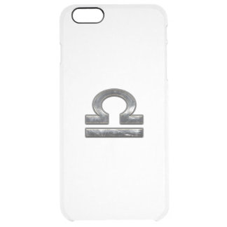 Libra Zodiac Sign in silver grunge steel style iPhone 6 Plus Case