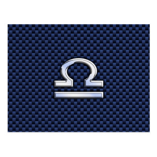 Libra Zodiac Sign on Blue Carbon Fiber Style Postcard