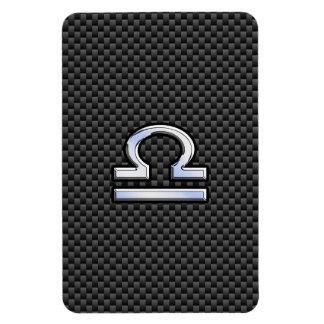 Libra Zodiac Sign on Carbon Fiber Print Rectangular Photo Magnet