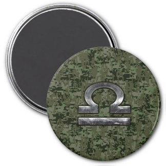 Libra Zodiac Sign on Woodland Green digital camo 7.5 Cm Round Magnet
