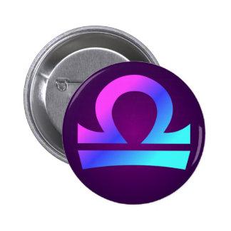 Libra Zodiac Sign Pink Blue Aqua Purple 6 Cm Round Badge