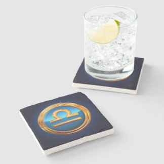Libra Zodiac Sign Stone Beverage Coaster