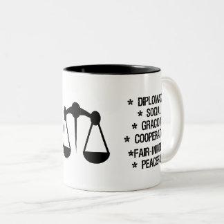 "Libra Zodiac Sign (""the scale"") Two-Tone Coffee Mug"