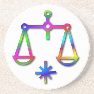 Libra Zodiac Star Sign Rainbow Beverage Coaster