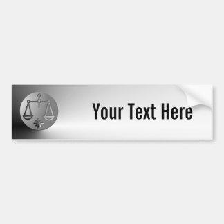 Libra Zodiac Star Sign Silver Premium Car Bumper Sticker