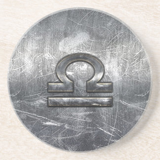Libra Zodiac Symbol Distressed Industrial Steel Drink Coaster