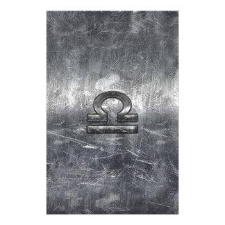 Libra Zodiac Symbol in silver grunge steel style 14 Cm X 21.5 Cm Flyer