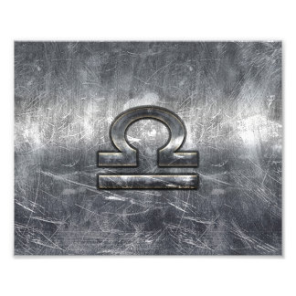 Libra Zodiac Symbol in silver grunge steel style Photo Art