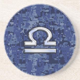 Libra Zodiac Symbol on Blue Digital Camouflage Beverage Coaster