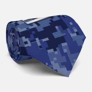 Libra Zodiac Symbol on Blue Digital Camouflage Tie