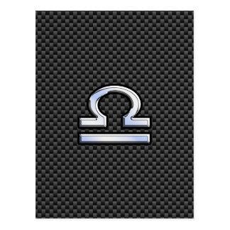 Libra Zodiac Symbol on Carbon Fiber Print Postcard