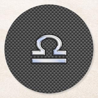 Libra Zodiac Symbol on Carbon Fiber Print Round Paper Coaster