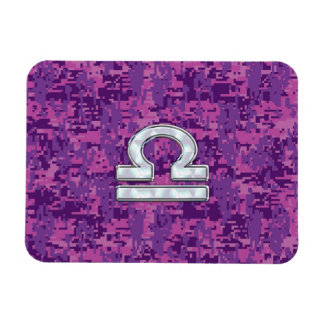 Libra Zodiac Symbol on Fuchsia Digital Camo Rectangular Photo Magnet