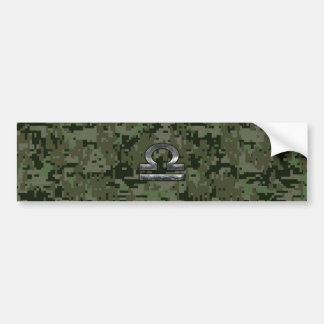 Libra Zodiac Symbol on Green Digital Camouflage Bumper Sticker