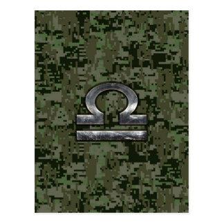 Libra Zodiac Symbol on Green Digital Camouflage Postcard