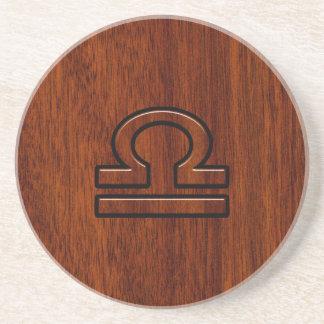 Libra Zodiac Symbol on Mahogany Drink Coasters