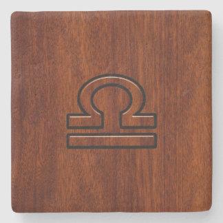 Libra Zodiac Symbol on mahogany style print Stone Beverage Coaster