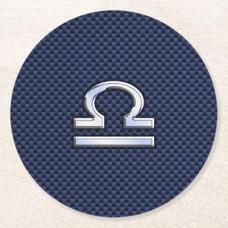 Libra Zodiac Symbol on Navy Blue Carbon Fiber Round Paper Coaster