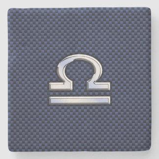 Libra Zodiac Symbol on Navy Blue Carbon Fiber Stone Coaster