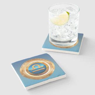 Libra Zodiac Symbol Stone Beverage Coaster