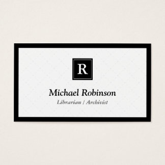 Librarian Archivist - Simple Elegant Monogram Business Card