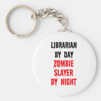 Librarian By Day Zombie Slayer By Night Basic Round Button Key Ring