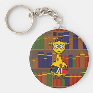 Librarian Giraffe Basic Round Button Key Ring