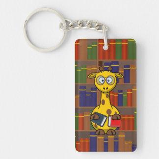 Librarian Giraffe Single-Sided Rectangular Acrylic Key Ring