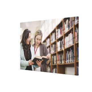 Librarian helping student with research in canvas print