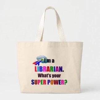 Librarian Superhero - Bold Colorful Text Design Large Tote Bag