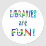 Libraries are Fun Round Stickers