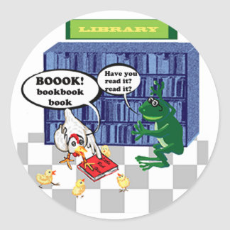 LIBRARY BOOK CHOOK JOKE ROUND STICKER