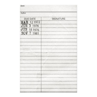 Library Book Return Card Customized Stationery