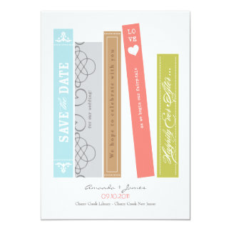 "Library Book Save the Date 5"" X 7"" Invitation Card"